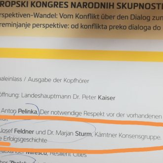 "Bild zu:Josef Feldner & Marjan Sturm: ""Koroška konsenzna skupina – zgodba o uspehu"" I ""Kärntner Konsensgruppe – eine Erfolgsgeschichte"""