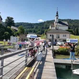 Bild zu:Kärntner Seenvolksbegehren – Ende der Kampanje I Konec kampanje proti pozidavi koroških jezerskih obal