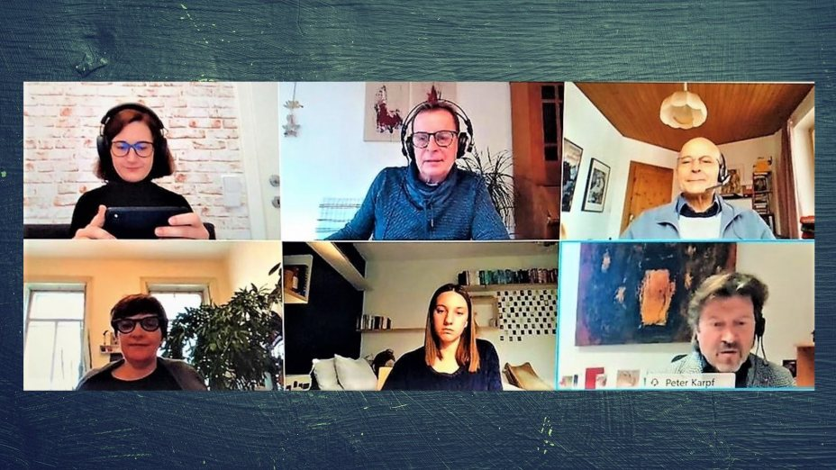 Heinz Pichler lud zur Diskussion: Daniela Ingruber, Lena Klaura, Peter Karpf, Edmund Huditz und Anna Enderle.